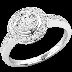 Verlobungsring im Cluster Stil für Dame in 18kt Weißgold mit runden Brillantschliff Diamanten