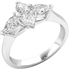 Three Stone Ring/Single Stone Engagement Ring With Shoulders for women in platinum with a marquise cut centre and two pear shoulder diamonds
