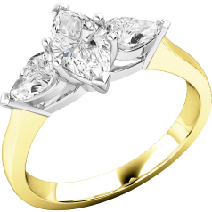 Three Stone Ring/Single Stone Engagement Ring With Shoulders for women in 18ct yellow and white gold with a marquise cut centre and two pear shoulder diamonds