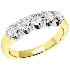 Half Eternity Ring for women in 9ct yellow and white gold with 5 round brilliant cut diamonds