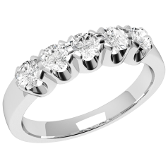 Inel Semi Eternity Dama Aur Alb, 18kt cu 5 Diamante Rotund Briliant