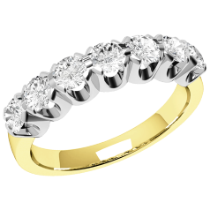RD244/9YW - 9ct yellow gold ring with 7 round brilliant cut diamonds