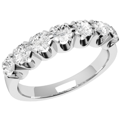 Inel Semi eternity Dama Platina cu 7 Diamante Rotund Briliant in Setare Gheare