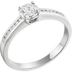 Single Stone Engagement Ring With Shoulders for Women in1 8ct White Gold with a Round Brilliant Centre and Round Shoulder Diamonds