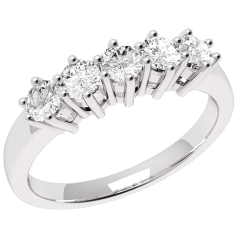 Half Eternity Ring for women in 9ct white gold with 5 round brilliant cut diamonds in claw setting
