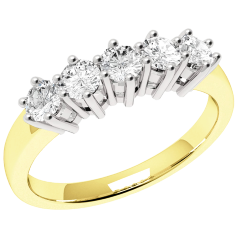Half Eternity Ring for women in 9ct yellow and white gold with 5 round brilliant cut diamonds in claw setting