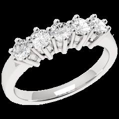 Inel Semi Eternity Dama Aur Alb, 18kt cu 5 Diamante Rotund Briliant in Setare Gheare