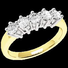 Halb Eternity Ring für Dame in 18kt Gelbgold und Weißgold mit 5 runden Brillanten