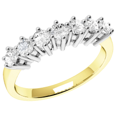 RD253/9YW - 9ct yellow and white gold ring with 7 round brilliant cut diamonds