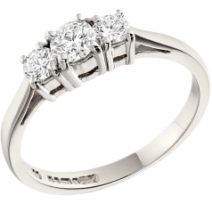 Three Stone Ring/Engagement Ring for women in platinum with round brilliant cut diamonds