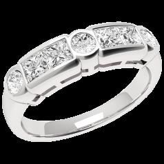 RD260PL - Inel din platină cu diamante princess şi rotunde