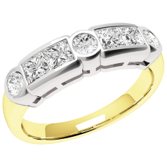RD260YW - 18ct yellow and white gold ring with princess & round diamonds