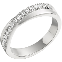 RD261W - Inel aur alb 18kt cu 15 diamante rotunde brilliant