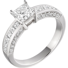 Single Stone Engagement Ring With Shoulders for Women in Platinum with a Princess Cut Diamond and Princess & Round Diamonds on the Shoulders on Offer