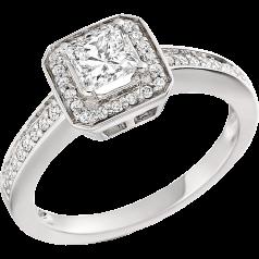 RD269PL - Inel din platină cu un diamant tăietura princess cu diamante rotunde pe lateral.