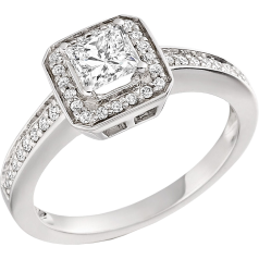 RD269W - Inel aur alb 18kt cu diamant princess si diamante rotunde pe margini