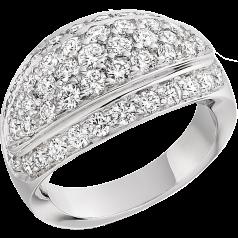RD270W - 18kt Weissgold Cocktail-Ring mit runden Brillanten in Pavéfassung