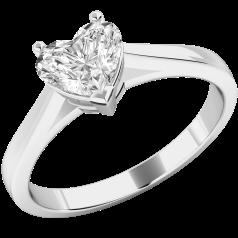 Inel de Logodna Solitaire Dama Aur Alb 18kt cu un Diamant Forma Inima in Setare Gheare in Stoc