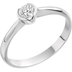 Solitär Verlobungsring für Dame in 9kt Weißgold mit einem runden Brillanten in Semi-Zargenfassung