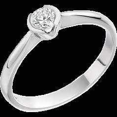 Inel de Logodna Solitaire Dama Aur Alb 18kt cu un Diamant Rotund Briliant in Setare Rub Over Partial