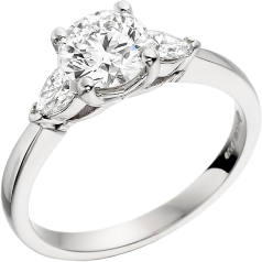 RD277W - 18ct white gold ring with a round brilliant cut diamond and two pear diamonds