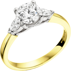 Single Stone Engagement Ring With Shoulders/Three Stone Ring for women in 18ct yellow and white gold with a round brilliant cut diamond and two pear diamonds