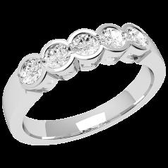 RD278W - 18kt Weissgold Ring mit 5 Runden Brillant Schliff Diamanten