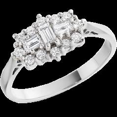 Cocktail Ring mit Diamanten/Verlobungsring im Cluster Stil für Dame in Platin mit Baguette & runden Brillant Schliff Diamanten