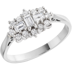 Dress Cocktail Ring/Cluster Engagement Ring for Women in 18ct white gold with baguette & round brilliant cut diamonds