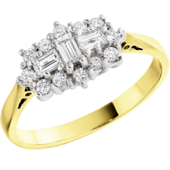 Dress Cocktail Ring/Cluster Engagement Ring for Women in 18ct yellow and white gold with baguette & round brilliant cut diamonds