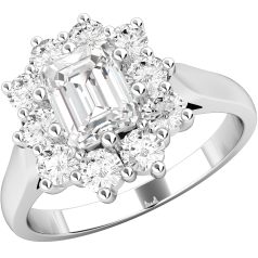 RD287PL - Platinum ring with an emerald and round brilliant cut diamonds