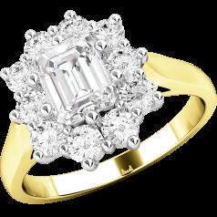 RD287YW - 18kt Gelb- und Weissgold Ring mit einem Smaragd-Schliff und runden Brillant Schliff Diamanten