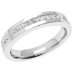 Half Eternity Ring/Diamond Set Wedding Ring for women in 18ct white gold with 16 princess cut diamonds on Offer