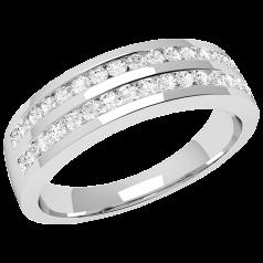 Inel Semi Eternity Dama Aur Alb, 18kt cu Diamante Rotund Briliant in 2 Randuri