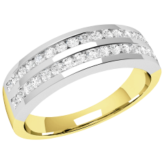Half Eternity Ring for women in 18ct yellow and white gold with round brilliant cut diamonds in 2 rows