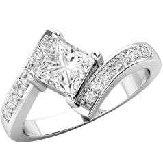 Single Stone Engagement Ring With Shoulders for Women in 18ct White Gold with a Princess Cut Centre and Round Brilliant Cut Diamonds on a Twist