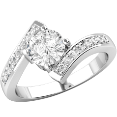 Single Stone Engagement Ring With Shoulders for Women in 18ct White Gold with a Round Brilliant Cut Diamond Centre and Round Brilliant Cut Diamond Shoulders