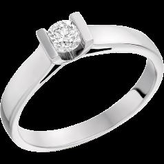 Solitär Verlobungsring für Dame in 9kt Weißgold mit einem runden Diamanten in Balkenfassung