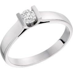 Single Stone Engagement Ring for Women in 18ct White Gold with a Round Diamond in a Bar Setting
