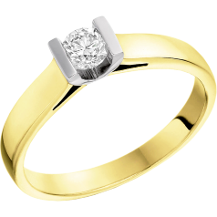 Single Stone Engagement Ring for Women in 18ct Yellow and White Gold with a Round Diamond in a Bar Setting
