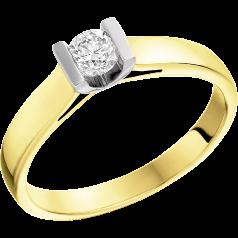 Solitär Verlobungsring für Dame in 18kt Gelbgold und Weißgold mit einem runden Diamanten in Balkenfassung