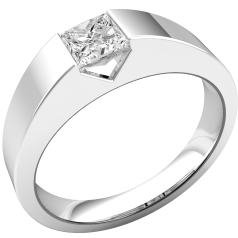 Single Stone Engagement Ring for Women in 18ct White Gold with a Princess Cut Diamond in a Tension-Setting