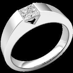 Solitär Verlobungsring für Dame in 18kt Weißgold mit einem Princess Schliff Diamanten in Spannfassung