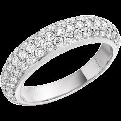 Cocktail Ring mit Diamanten für Dame in Platin mit Brillantschliff Diamanten in Pavefassung