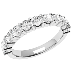 Inel Semi Eternity Dama Aur Alb, 18kt cu 11 Diamante Rotund Briliant in Setare Gheare