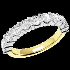 Halb Eternity Ring für Dame in 18kt Gelbgold und Weißgold mit 11 runden Brillant Schliff Diamanten in Krappenfassung
