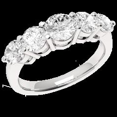 RD303PL - Inel din platină cu 5 diamante rotunde, de dimensiuni gradate, în setare cu gheare