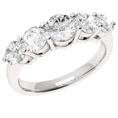 RD303W - 18kt aur alb inel cu 5 diamante rotunde setare-gheare
