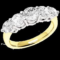 RD303YW - 18kt Gelb- und 18kt Weissgold Ring mit 5 runden Diamanten, mit aufsteigender Größe, in Krappenfassung