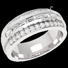 RD305PL - Platin Ring mit 8 Baguette Diamanten umgeben von 26 kleinen runden Diamanten
